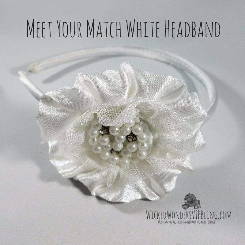 Wicked Wonders VIP Bling Headband Meet Your Match White Headband Affordable Bling_Bling Fashion Paparazzi