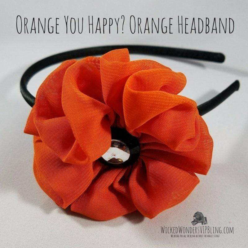 Wicked Wonders VIP Bling Headband Orange You Happy? Orange Headband Affordable Bling_Bling Fashion Paparazzi