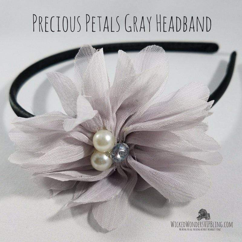 Wicked Wonders VIP Bling Headband Precious Petals Gray Headband Affordable Bling_Bling Fashion Paparazzi