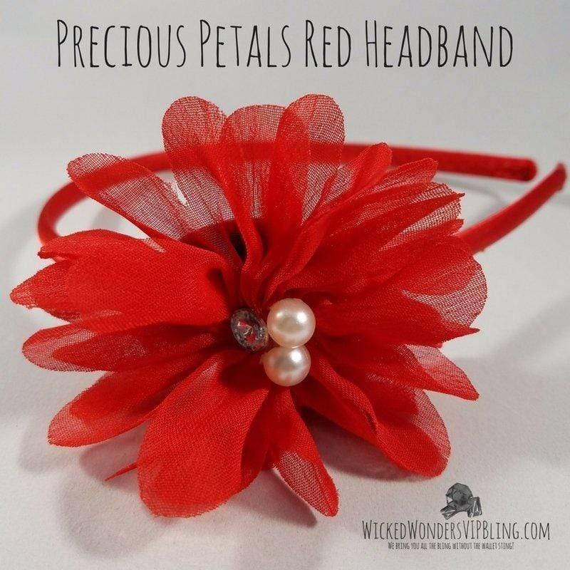 Wicked Wonders VIP Bling Headband Precious Petals Red Headband Affordable Bling_Bling Fashion Paparazzi