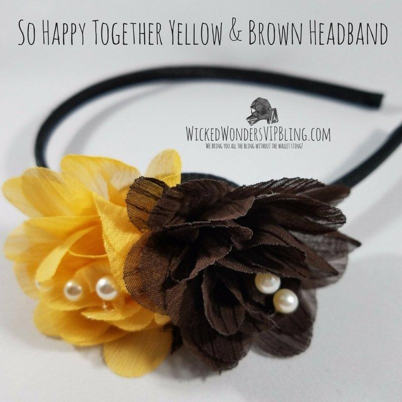 Wicked Wonders VIP Bling Headband So Happy Together Yellow & Brown Headband Affordable Bling_Bling Fashion Paparazzi