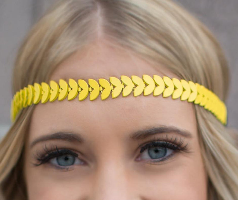 Wicked Wonders VIP Bling Headband The Hippie Movement Yellow Hippie Headband Affordable Bling_Bling Fashion Paparazzi
