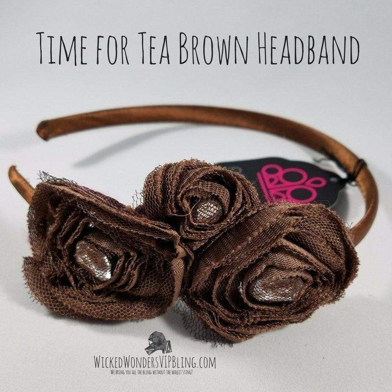 Wicked Wonders VIP Bling Headband Time for Tea Brown Headband Affordable Bling_Bling Fashion Paparazzi