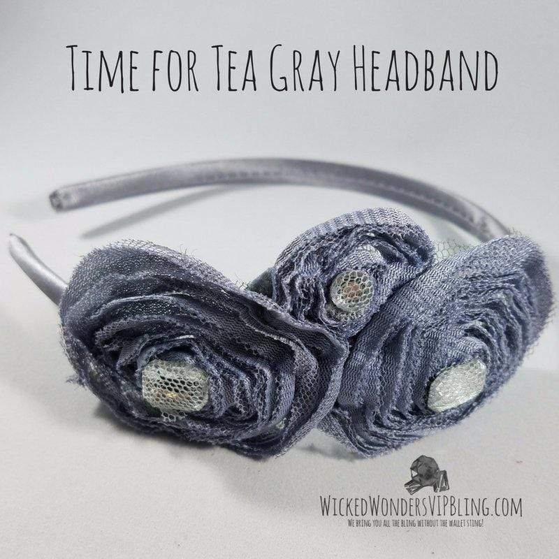 Wicked Wonders VIP Bling Headband Time for Tea Gray Headband Affordable Bling_Bling Fashion Paparazzi
