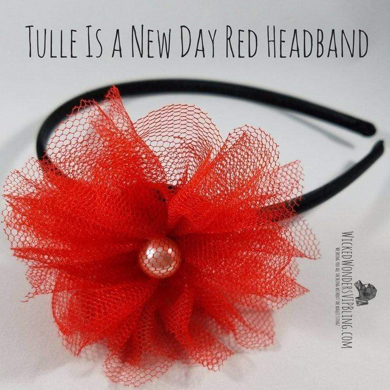 Wicked Wonders VIP Bling Headband Tulle Is a New Day Red Headband Affordable Bling_Bling Fashion Paparazzi
