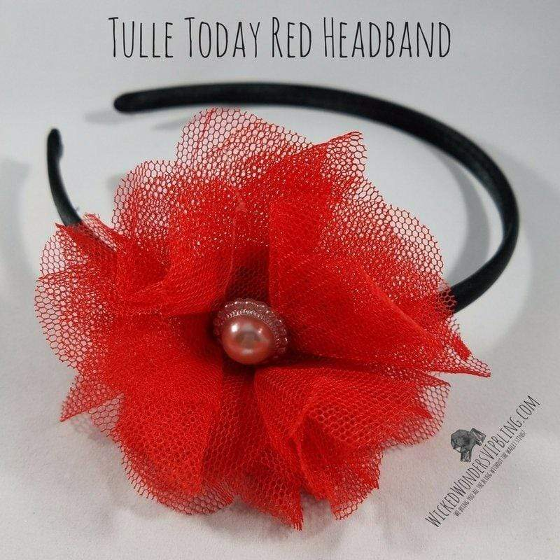 Wicked Wonders VIP Bling Headband Tulle Today Red Headband Affordable Bling_Bling Fashion Paparazzi
