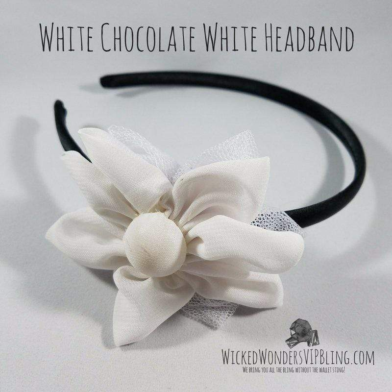 Wicked Wonders VIP Bling Headband White Chocolate White Headband Affordable Bling_Bling Fashion Paparazzi