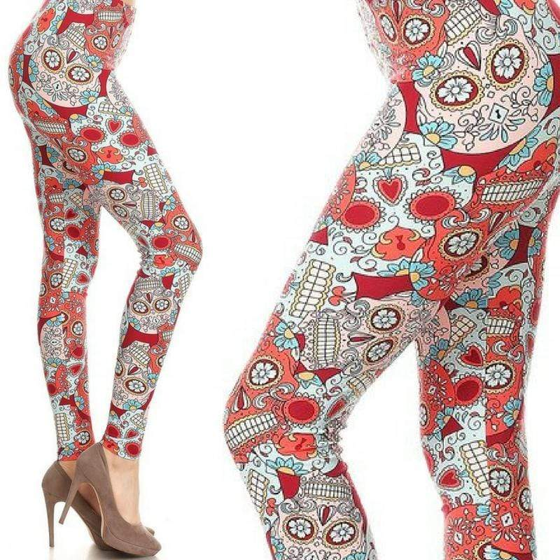 Wicked Wonders VIP Bling Leggings Wicked Soft Berry Cherry Sugar Skulls OS Leggings Affordable Bling_Bling Fashion Paparazzi