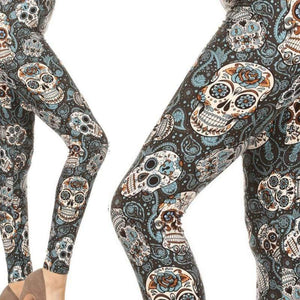 Wicked Wonders VIP Bling Leggings Wicked Soft Calvera Sugar Skull Blue OS Leggings Affordable Bling_Bling Fashion Paparazzi