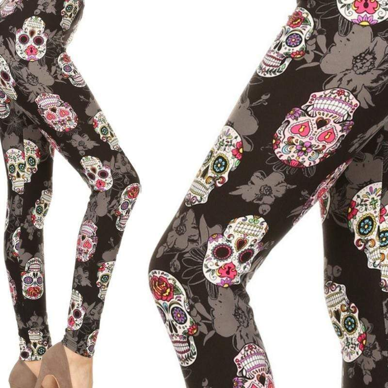 Wicked Wonders VIP Bling Leggings Wicked Soft Calvera Sugar Skull Pink OS Leggings Affordable Bling_Bling Fashion Paparazzi