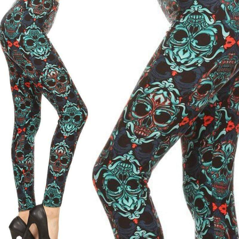 Wicked Wonders VIP Bling Leggings Wicked Soft Fleur De LeiSkull OS Leggings Affordable Bling_Bling Fashion Paparazzi