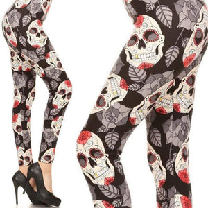 Wicked Wonders VIP Bling Leggings Wicked Soft Leaves of Mind and Skull OS Leggings Affordable Bling_Bling Fashion Paparazzi