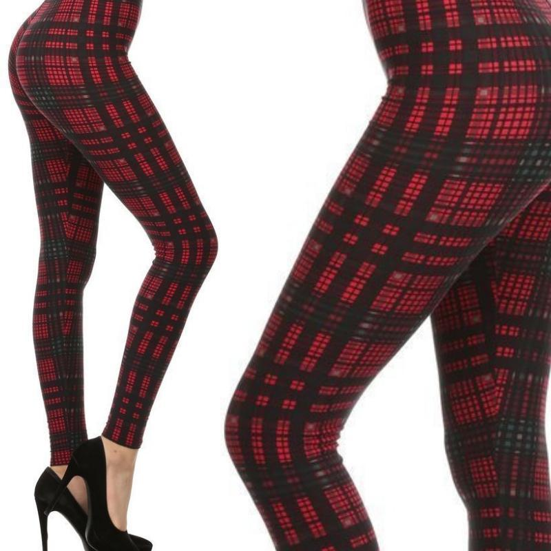Wicked Wonders VIP Bling Leggings Wicked Soft Plaid Tidings OS Leggings Affordable Bling_Bling Fashion Paparazzi