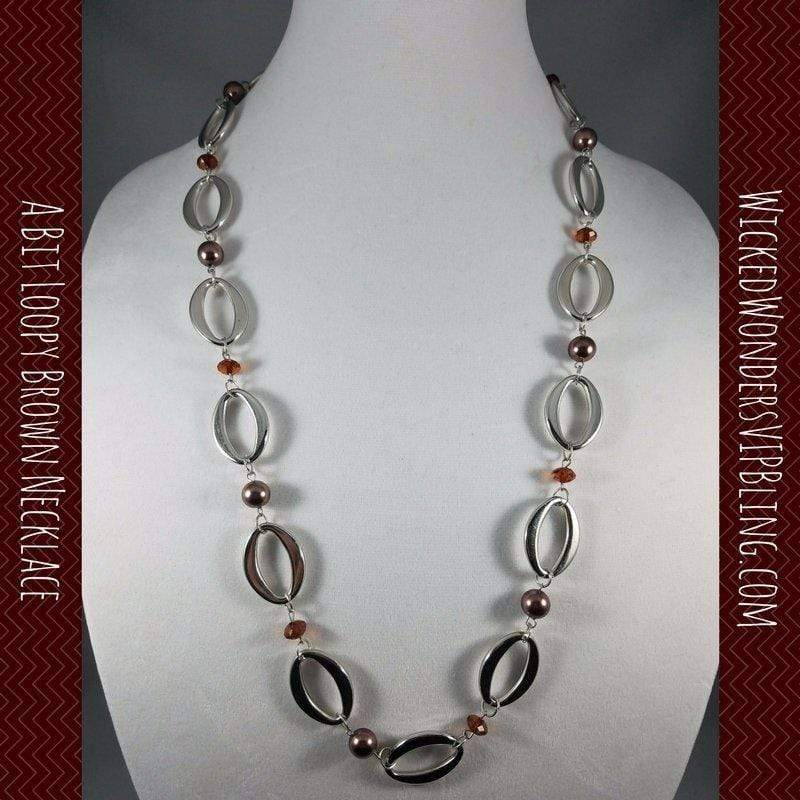 Wicked Wonders VIP Bling Necklace A Bit Loopy Brown Necklace Affordable Bling_Bling Fashion Paparazzi