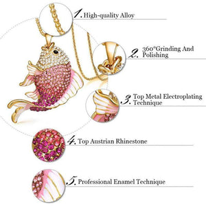 Wicked Wonders VIP Bling Necklace A Fish Called Wanda Pink Crystal Necklace Affordable Bling_Bling Fashion Paparazzi