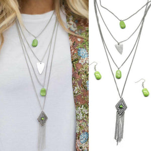 Wicked Wonders VIP Bling Necklace A Gypsy Soul Quad-Layer Green Necklace Affordable Bling_Bling Fashion Paparazzi