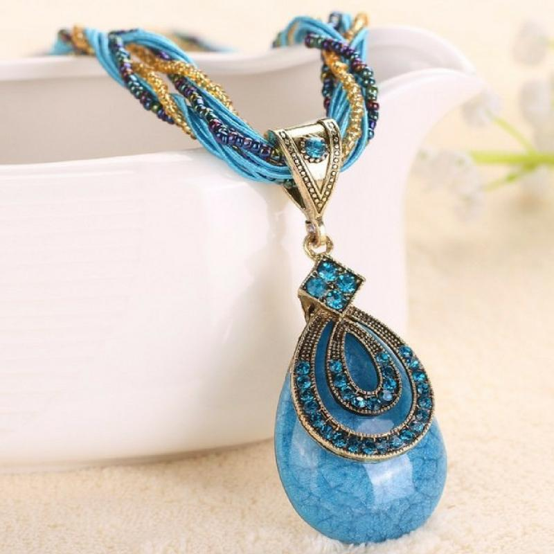 Wicked Wonders VIP Bling Necklace A-PEAR-antly Perfect Drop Pendant Seed Bead (Tear Loop) Aqua Necklace Affordable Bling_Bling Fashion Paparazzi