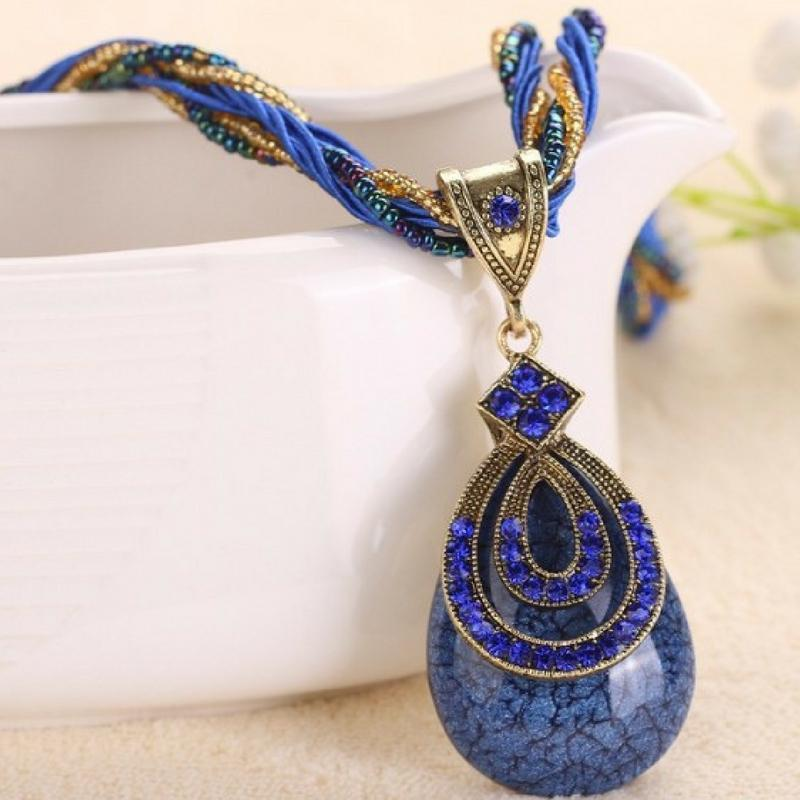 Wicked Wonders VIP Bling Necklace A-PEAR-antly Perfect Drop Pendant Seed Bead (Tear Loop) Blue Necklace Affordable Bling_Bling Fashion Paparazzi