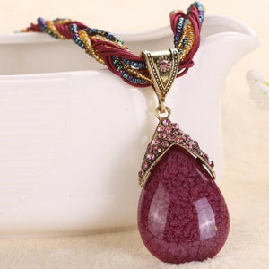 Wicked Wonders VIP Bling Necklace A-PEAR-antly Perfect Drop Pendant Seed Bead (Top Down) Burgundy Affordable Bling_Bling Fashion Paparazzi