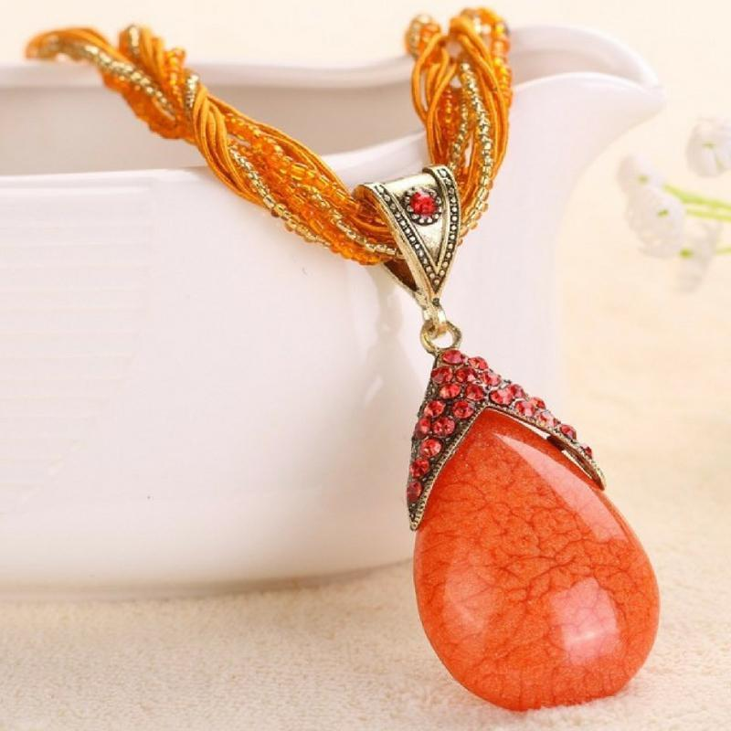 Wicked Wonders VIP Bling Necklace A-PEAR-antly Perfect Drop Pendant Seed Bead (Top Down) Orange Affordable Bling_Bling Fashion Paparazzi
