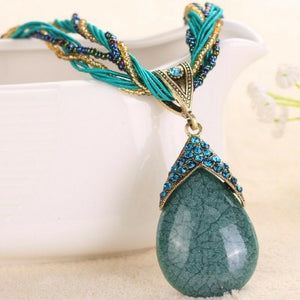 Wicked Wonders VIP Bling Necklace A-PEAR-antly Perfect Drop Pendant Seed Bead (Top Down) Teal Affordable Bling_Bling Fashion Paparazzi