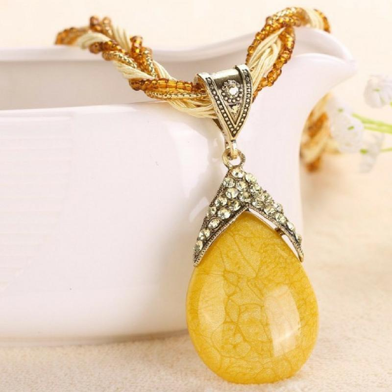Wicked Wonders VIP Bling Necklace A-PEAR-antly Perfect Drop Pendant Seed Bead (Top Down) Yellow Affordable Bling_Bling Fashion Paparazzi
