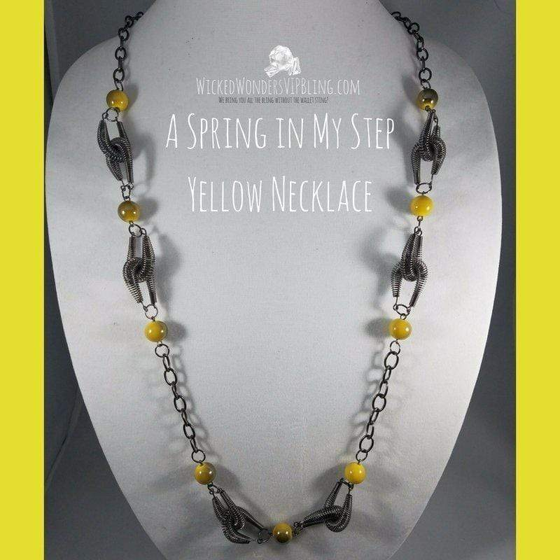 Wicked Wonders VIP Bling Necklace A Spring in My Step Yellow Necklace Affordable Bling_Bling Fashion Paparazzi
