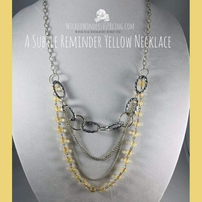 Wicked Wonders VIP Bling Necklace A Subtle Reminder Yellow Necklace Affordable Bling_Bling Fashion Paparazzi