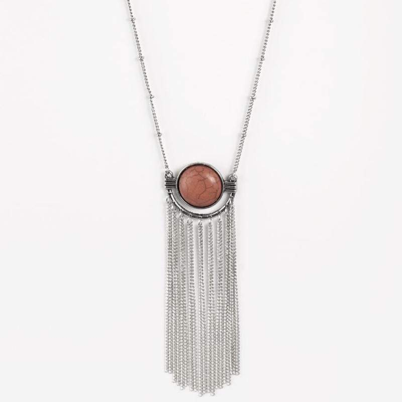 Wicked Wonders VIP Bling Necklace After Dusk Orange-Brown Stone Necklace Affordable Bling_Bling Fashion Paparazzi