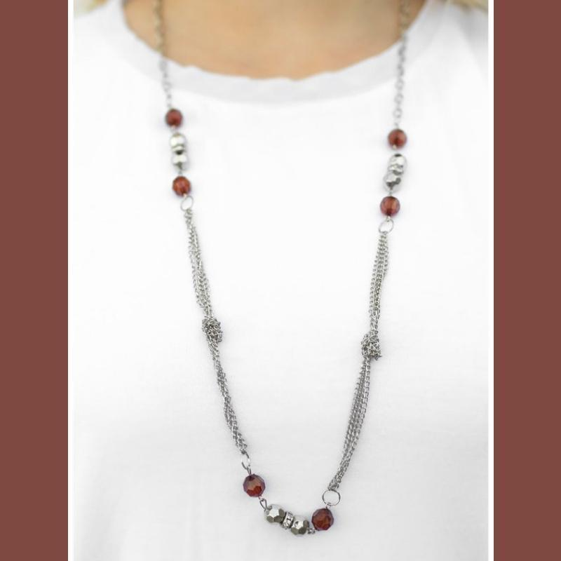 Wicked Wonders VIP Bling Necklace All Dolled Up Brown Necklace Affordable Bling_Bling Fashion Paparazzi