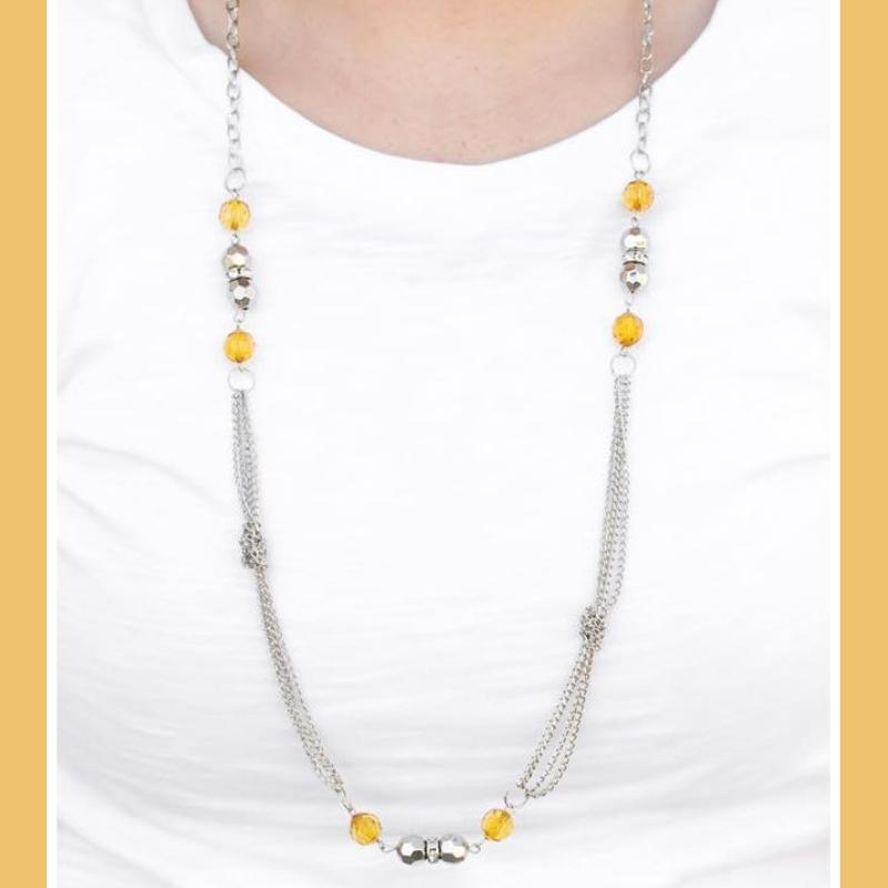 Wicked Wonders VIP Bling Necklace All Dolled Up Yellow Necklace Affordable Bling_Bling Fashion Paparazzi
