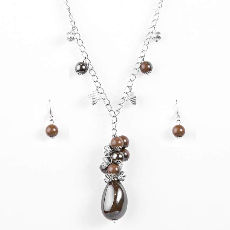 Wicked Wonders VIP Bling Necklace Along for the Ride Brown Necklace Affordable Bling_Bling Fashion Paparazzi