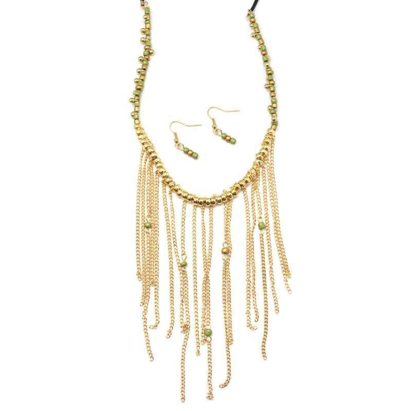 Wicked Wonders VIP Bling Necklace Arizona Green and Gold Necklace Affordable Bling_Bling Fashion Paparazzi
