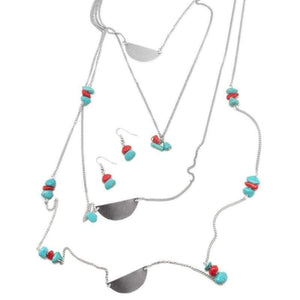 Wicked Wonders VIP Bling Necklace Back to the Stone Age Blue/Red Necklace Affordable Bling_Bling Fashion Paparazzi