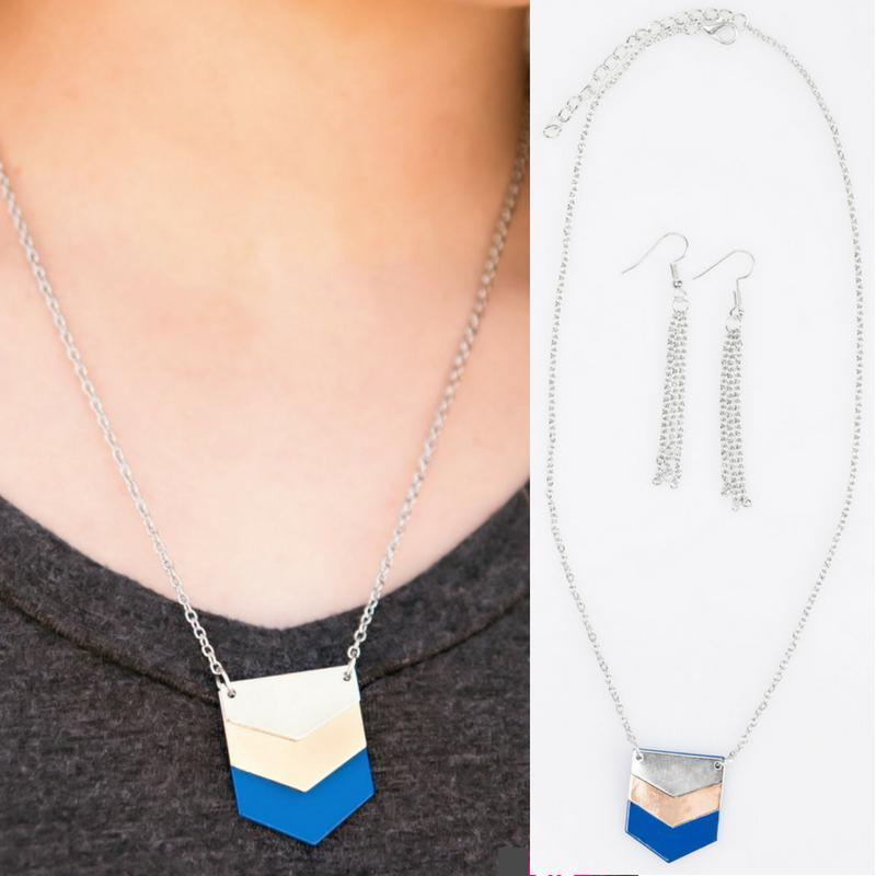 Wicked Wonders VIP Bling Necklace Bases Loaded Blue Necklace Affordable Bling_Bling Fashion Paparazzi