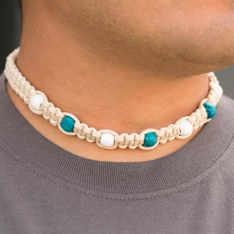 Wicked Wonders VIP Bling Necklace Beach Bound Uni-Sex Blue Choker Necklace Affordable Bling_Bling Fashion Paparazzi