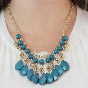 Wicked Wonders VIP Bling Necklace Beauty School Drop Out Blue Necklace Affordable Bling_Bling Fashion Paparazzi