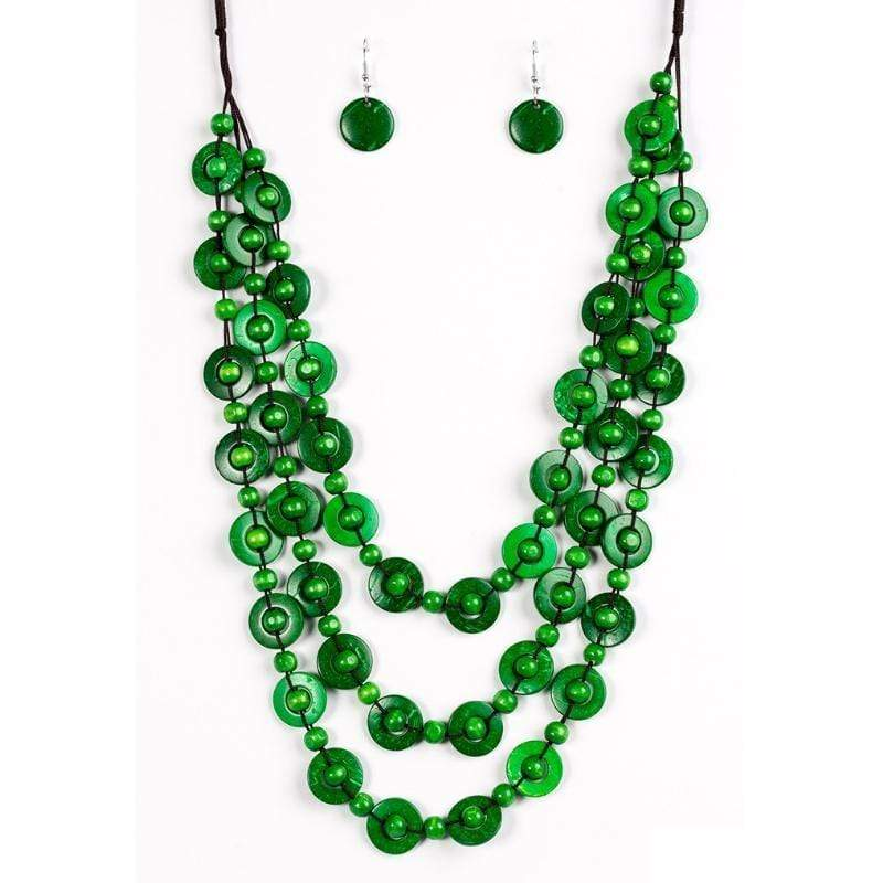 Wicked Wonders VIP Bling Necklace Bermuda Belle Green Statement Necklace Affordable Bling_Bling Fashion Paparazzi