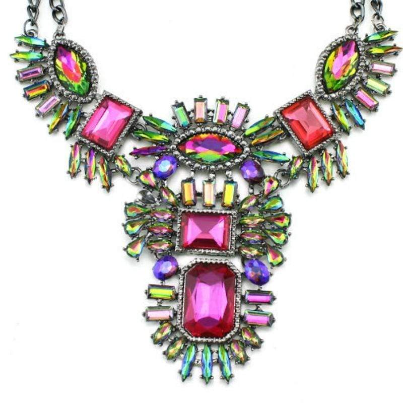 Wicked Wonders VIP Bling Necklace Bohemian Rhapsody Pink Multi Necklace Affordable Bling_Bling Fashion Paparazzi