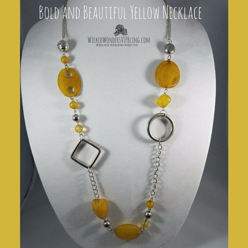 Wicked Wonders VIP Bling Necklace Bold and Beautiful Yellow Necklace Affordable Bling_Bling Fashion Paparazzi