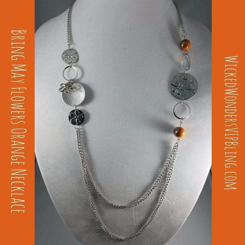 Wicked Wonders VIP Bling Necklace Bring May Flowers Orange, Necklace Affordable Bling_Bling Fashion Paparazzi