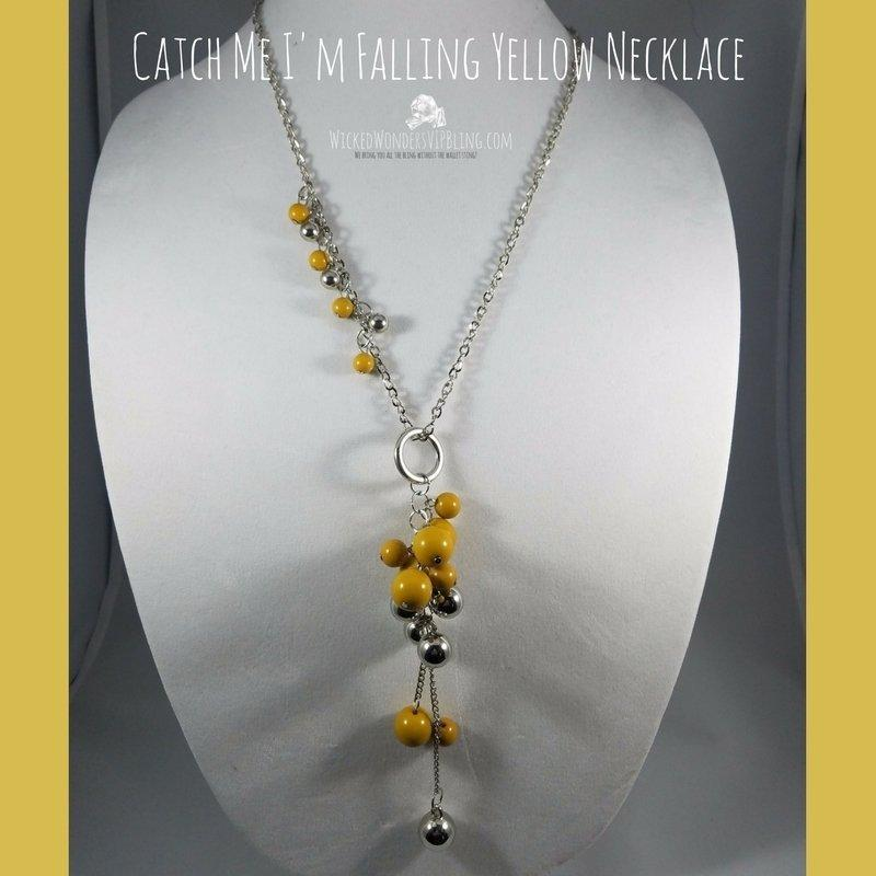 Wicked Wonders VIP Bling Necklace Catch Me I'm Falling Yellow Necklace Affordable Bling_Bling Fashion Paparazzi
