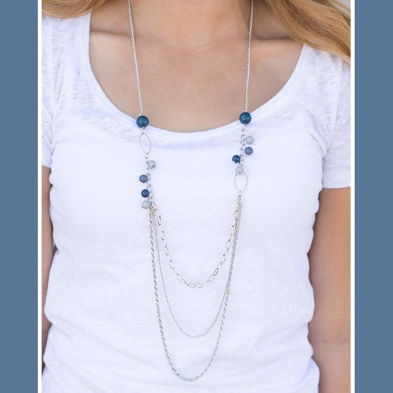 Wicked Wonders VIP Bling Necklace Charmingly Charismatic Gray/Blue Necklace Affordable Bling_Bling Fashion Paparazzi
