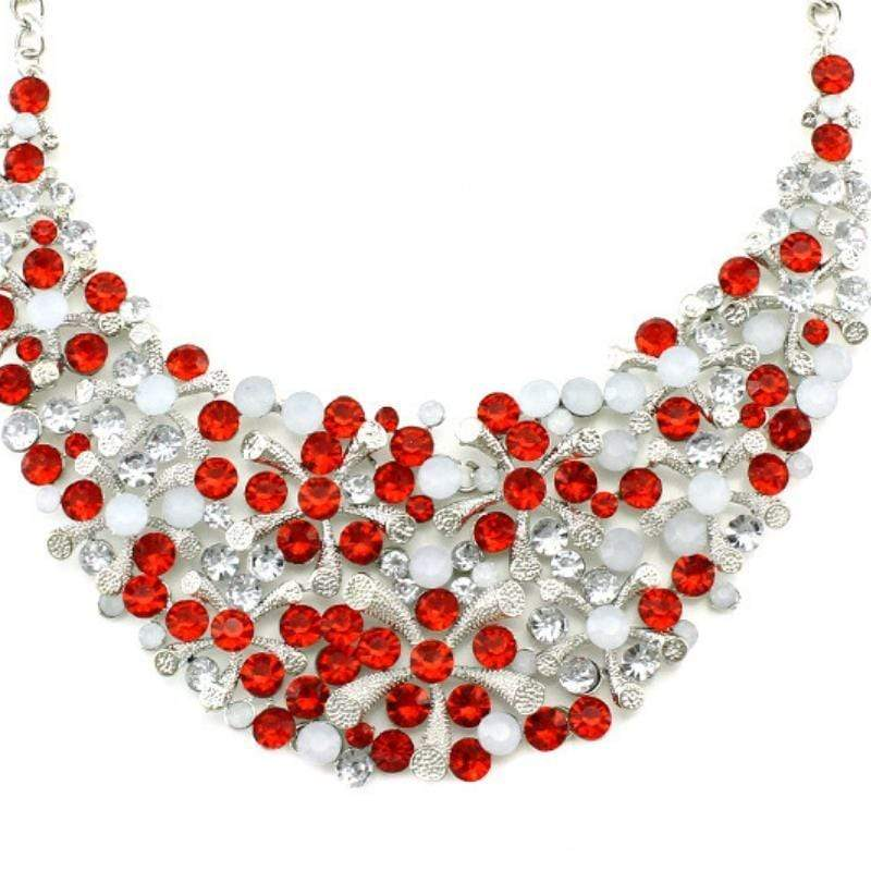 Wicked Wonders VIP Bling Necklace Christmas Snow Red Crystal Statement Necklace Affordable Bling_Bling Fashion Paparazzi