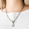 Wicked Wonders VIP Bling Necklace Club Sparkle Gunmetal and White Rhinestone Necklace Affordable Bling_Bling Fashion Paparazzi
