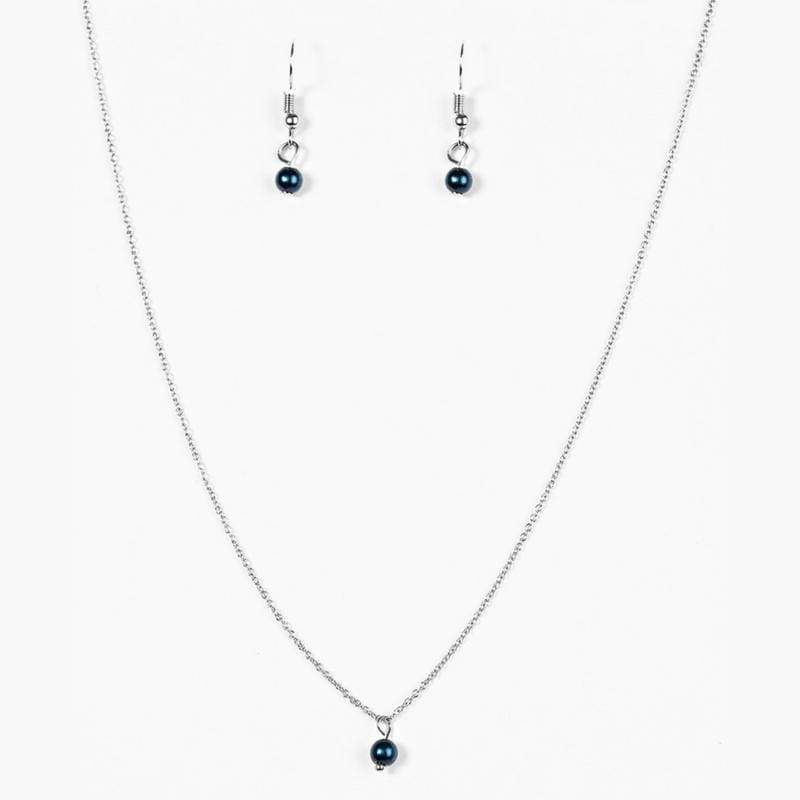 Wicked Wonders VIP Bling Necklace Dainty and Demure Blue Pearl Necklace Affordable Bling_Bling Fashion Paparazzi