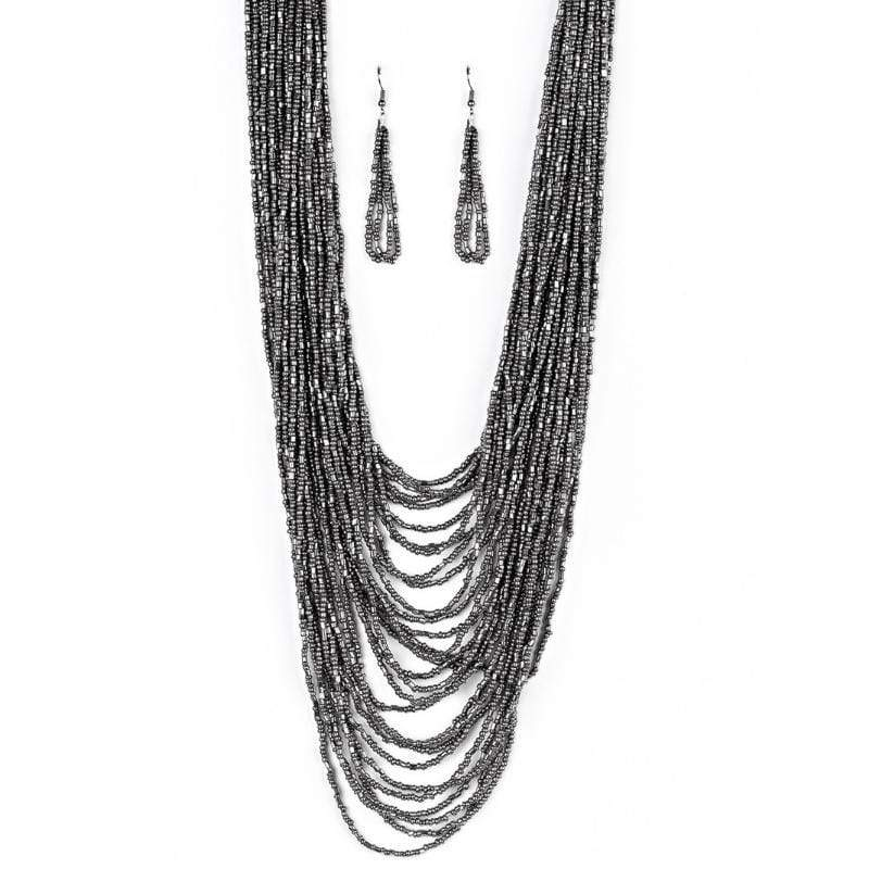 Wicked Wonders VIP Bling Necklace Dauntless Dazzle Black Seed Bead Necklace Affordable Bling_Bling Fashion Paparazzi