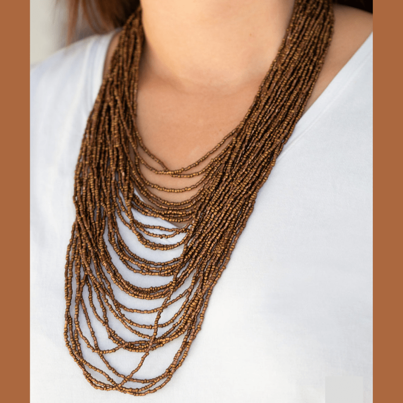 Wicked Wonders VIP Bling Necklace Dauntless Dazzle Copper Seed Bead Necklace Affordable Bling_Bling Fashion Paparazzi