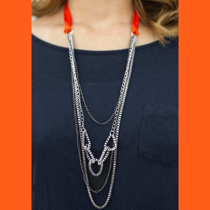 Wicked Wonders VIP Bling Necklace Delicately Dangerous Orange Ribbon Necklace Affordable Bling_Bling Fashion Paparazzi