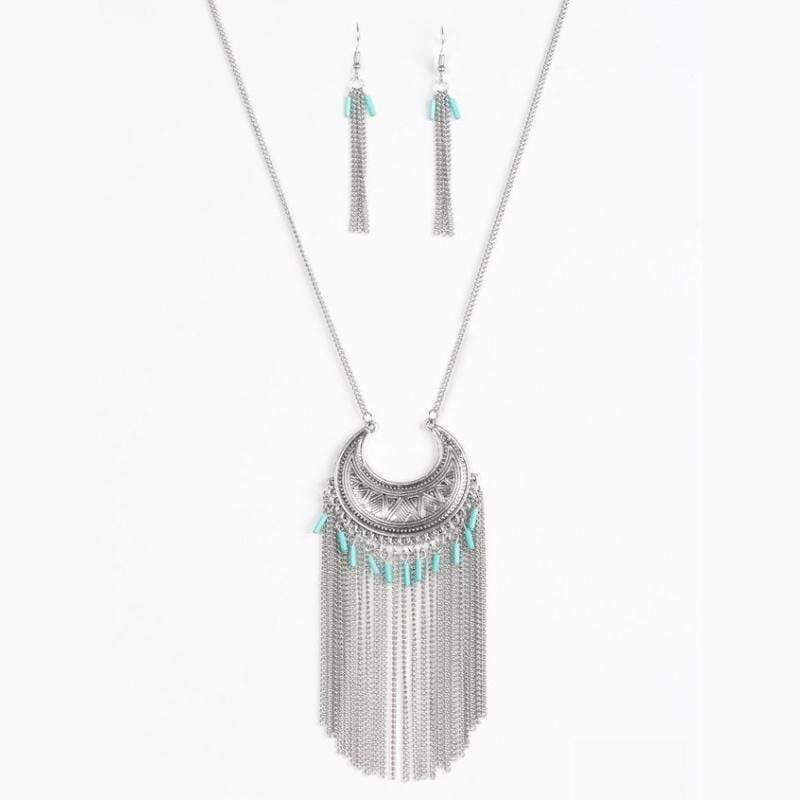 Wicked Wonders VIP Bling Necklace Desert Coyote Blue Necklace Affordable Bling_Bling Fashion Paparazzi